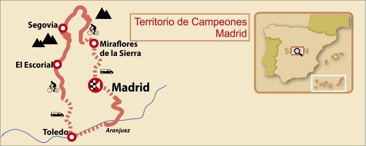 Madrid, Segovia and Toledo Bike Tour Map