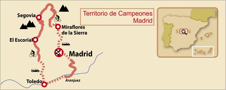Madrid Territory of Champions Bike Tour Map